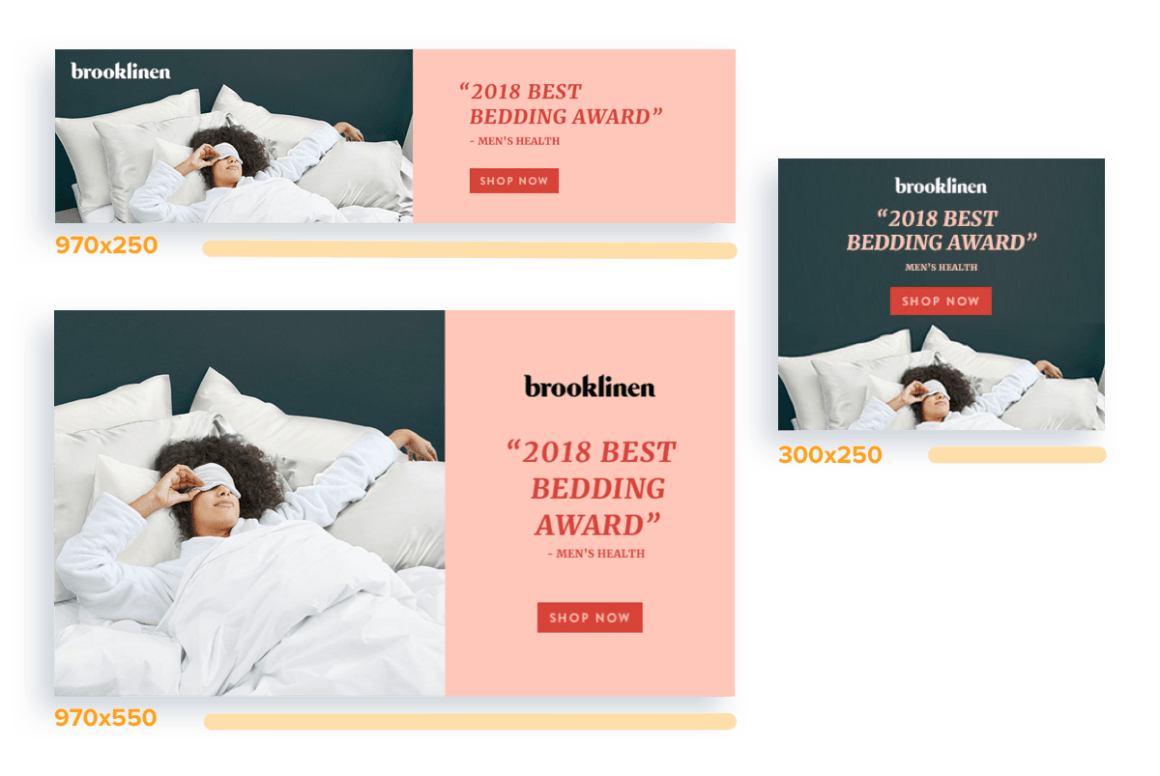 examples of different email newsletter ad sizes, including units sized 970x250, 300x250, and 970x550